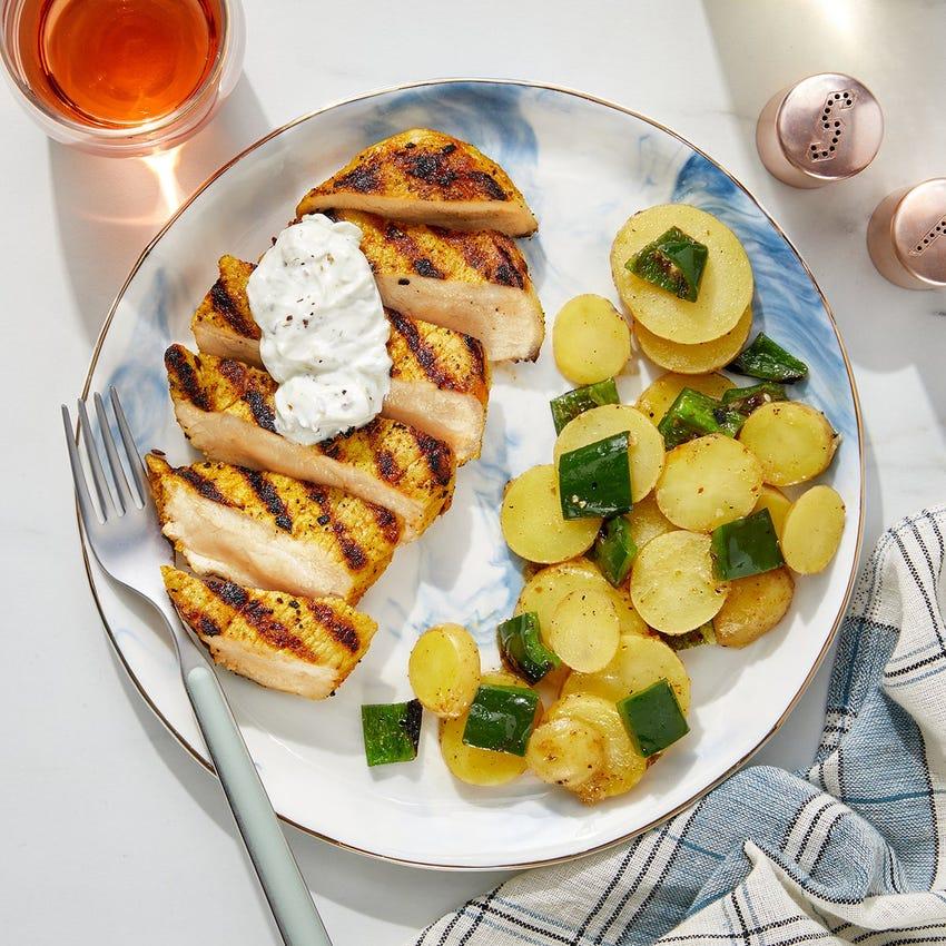 Grilled Shawarma-Spiced Pork Chops with Lemon Potatoes & Poblano