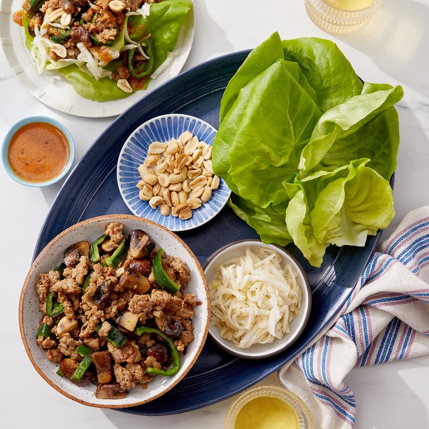 Spicy Turkey & Mushroom Lettuce Wraps with Peanut-Soy Sauce
