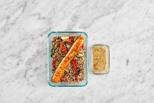 Assemble & Store the Roasted Salmon & Quinoa