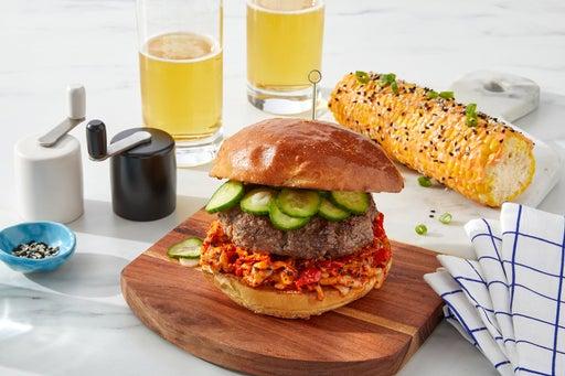 Togarashi-Pimento Cheeseburgers with Spicy Sesame Corn on the Cob