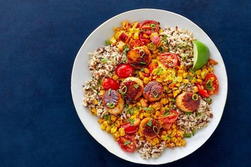 Pan-Seared Scallops & Red Rice with Charred Corn & Peach Salsa