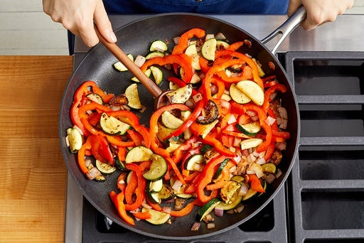 Cook the remaining vegetables & finish the quinoa