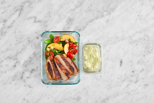 Assemble & Store the Mexican Pork & Spinach Salad
