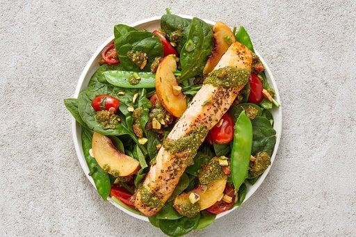 Finish & Serve the Oregano Salmon & Nectarine Salad