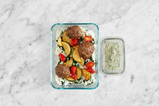 Assemble & Store the Meatballs & Spinach Rice