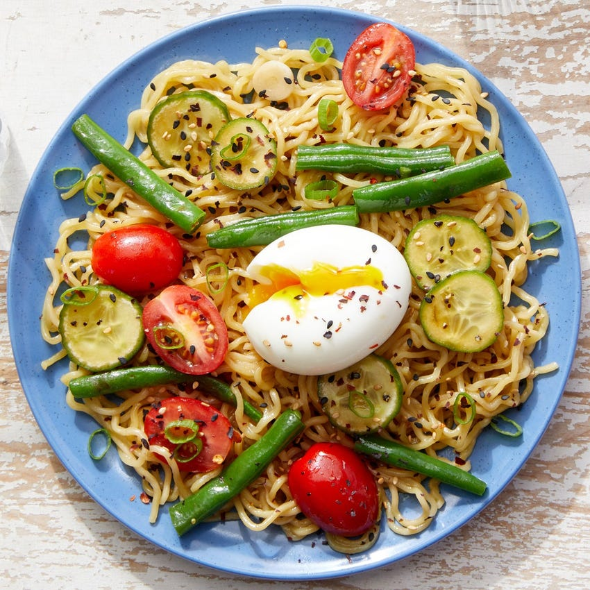 Hiyashi Chuka Ramen with Tomatoes, Green Beans & Soft-Boiled Eggs