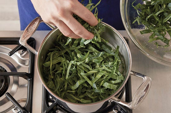 Cook the rice & collard greens: