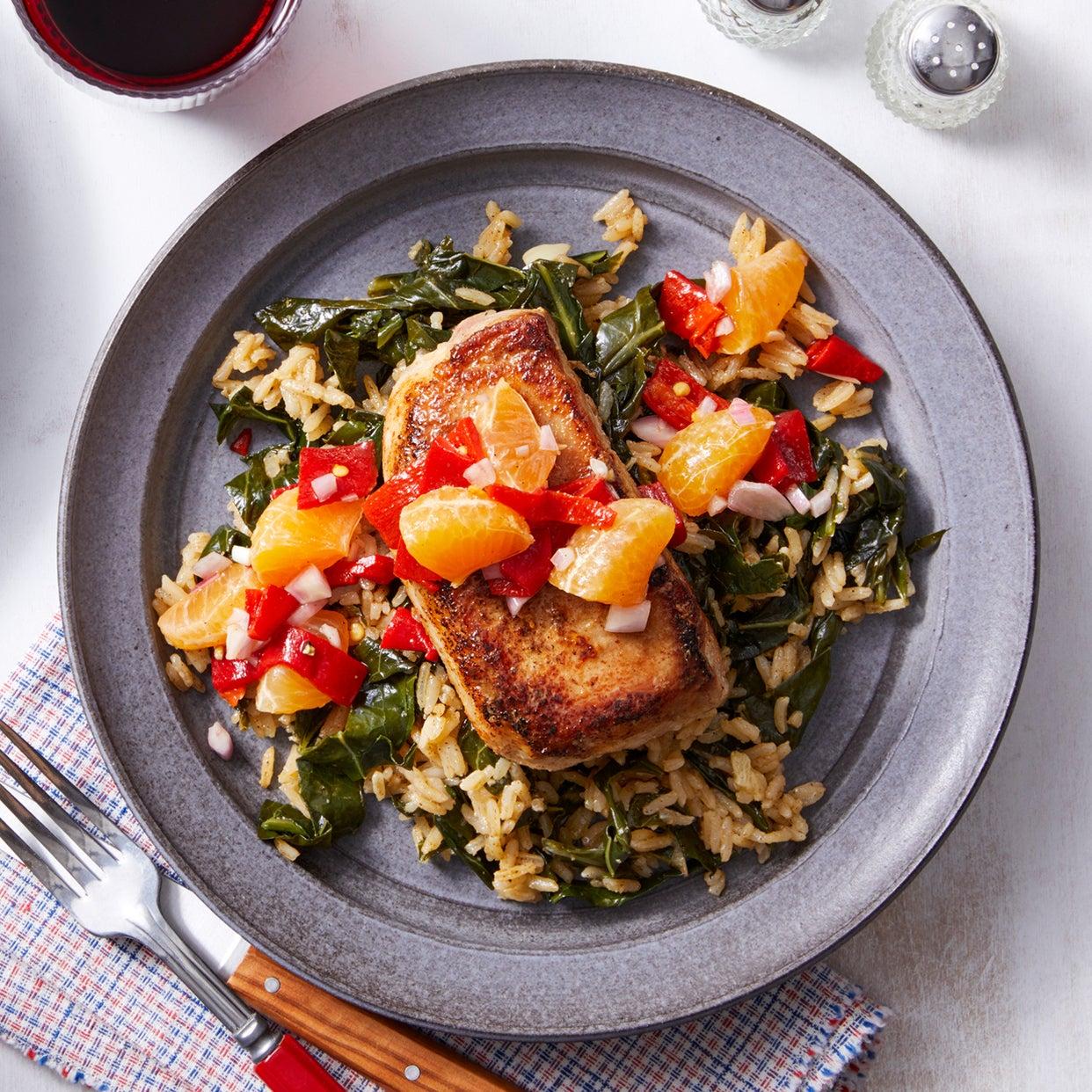Southern Pork Chops with Collard Green Rice & Clementine Salsa