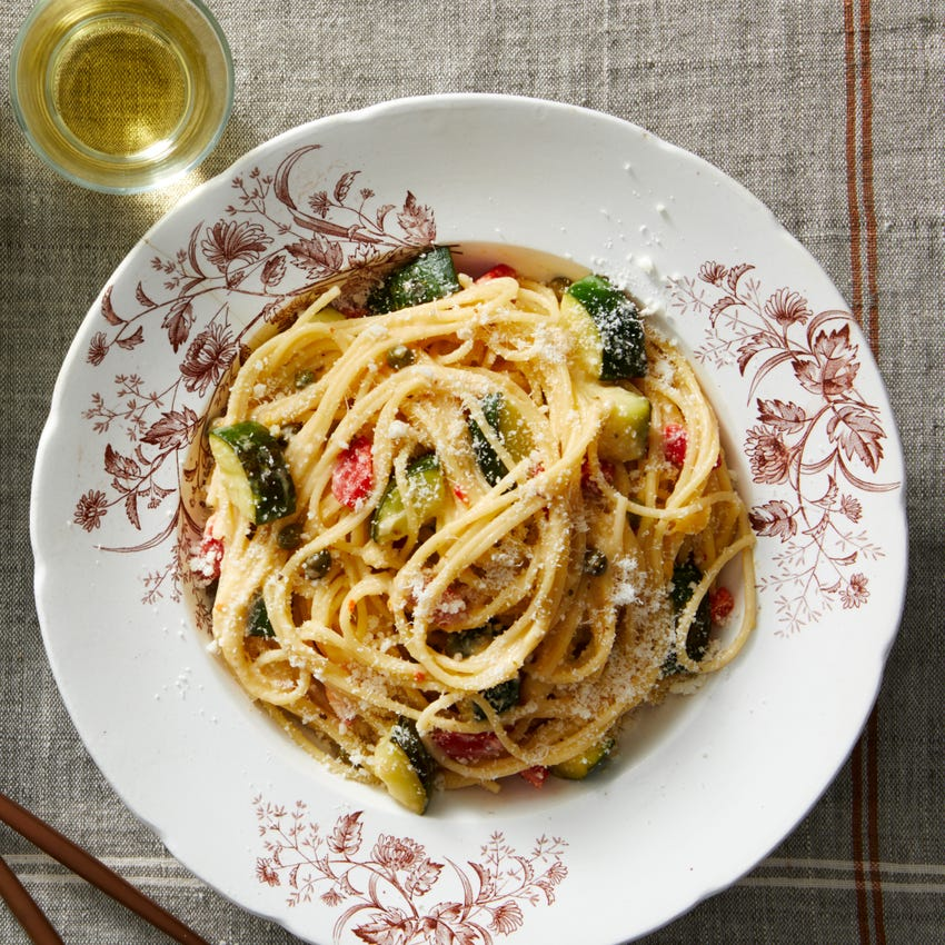 Spaghettini & Yellow Tomato Sauce with Roasted Red Peppers