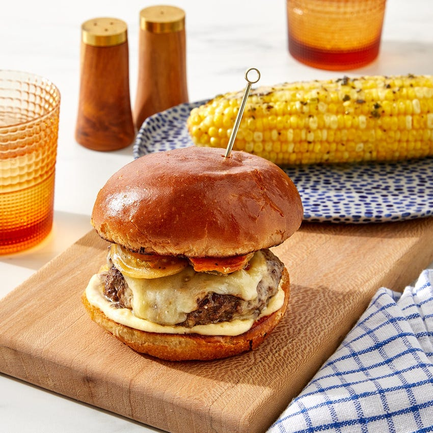Smoked Gouda & Fried Pickle Burgers with Corn on the Cob & Garlic-Herb Butter
