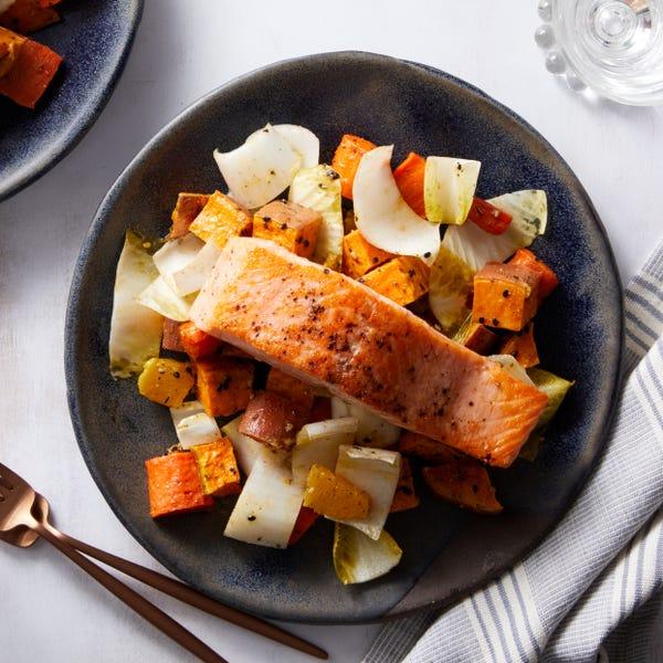 Salmon & Dukkah-Spiced Vegetables with Orange & Endive