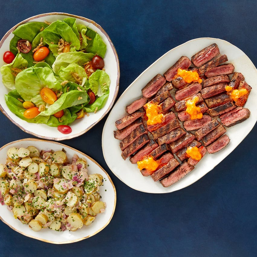 Grilled Cajun Flank Steaks & Potato Salad with Butter Lettuce & Crispy Onion Salad