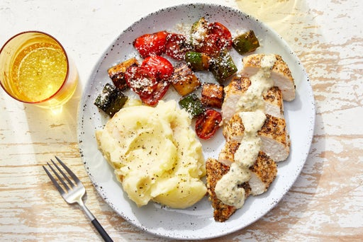 Seared Chicken & Creamy Italian Dressing with Mashed Potatoes & Glazed Vegetables