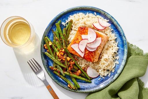 Honey Teriyaki Salmon with Brown Rice & Spicy Green Beans