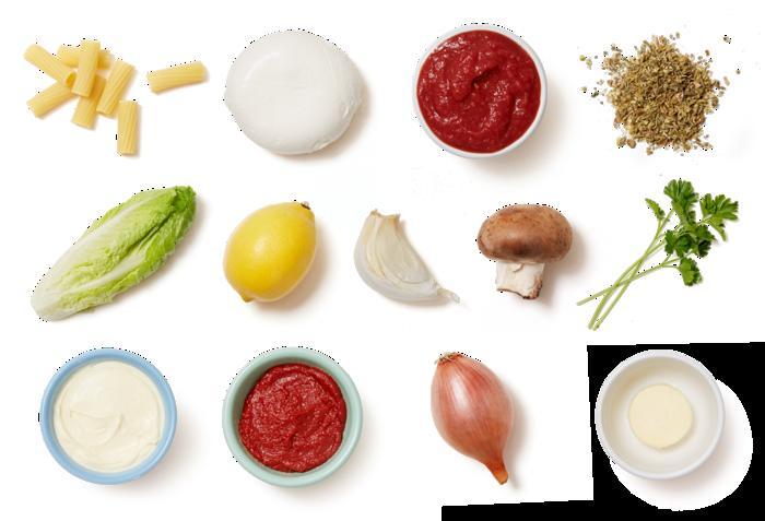 Elicoidali Pasta & Mushroom Sauce with Marinated Mozzarella Salad