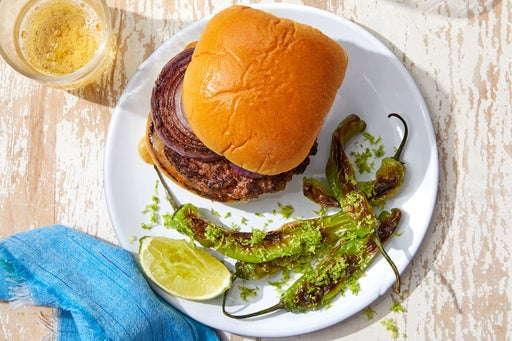 Spanish-Spiced Grilled Beyond Burger™ with Charred Shishito Peppers & Lime Salt