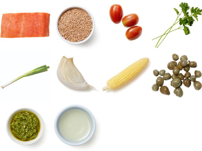 Salsa Verde Salmon with Sweet Corn & Pesto Farro Salad