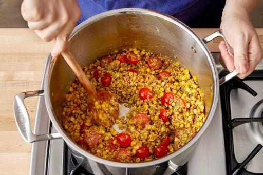 Cook the corn & finish the farro