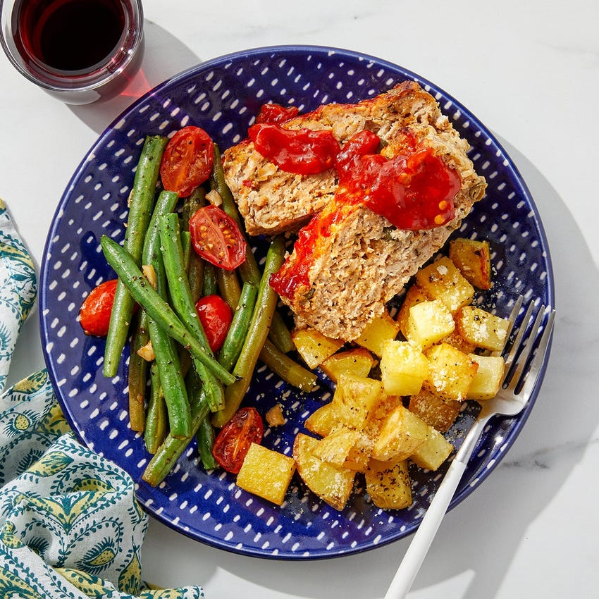 Sheet Pan Turkey & Ricotta Meatloaf with Green Beans, Tomatoes & Rosemary Potatoes