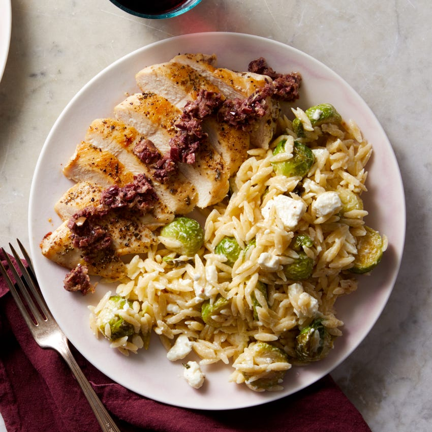 Greek Chicken with Olive Tapenade & Creamy Orzo