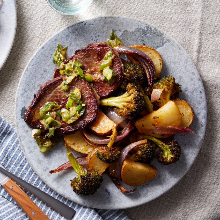 Beef Medallions & Scallion Salsa Verde with Potatoes & Broccoli