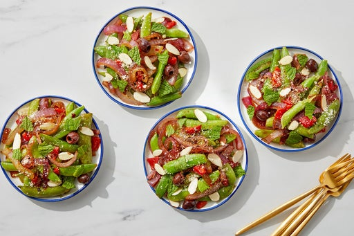Sugar Snap Pea & Red Onion Salad with Mint & Almonds