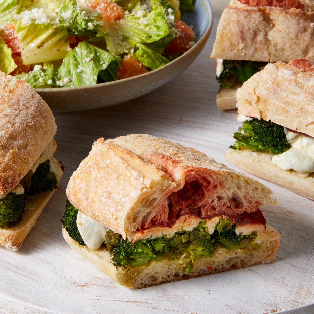 Basil Pesto & Broccoli Subs with Romaine & Orange Salad