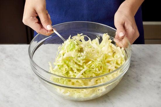 Prepare & season the cabbage: