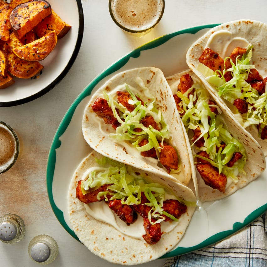 Korean Chicken Tacos with Furikake Sweet Potatoes
