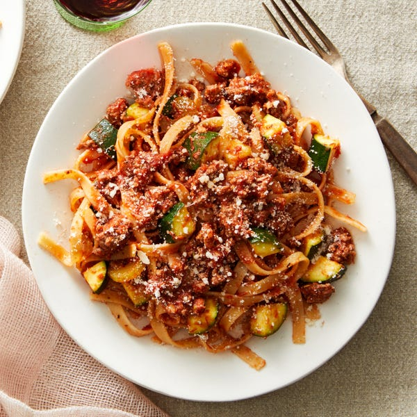 Spicy Fettuccine & Beef Bolognese with Zucchini