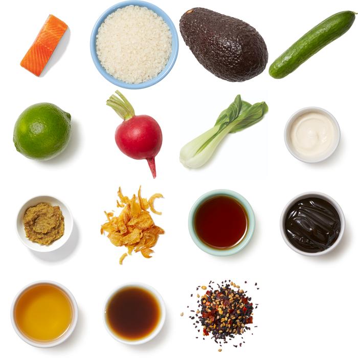 Steelhead Trout Rice Bowls with Avocado, Bok Choy & Yuzu Kosho Mayo