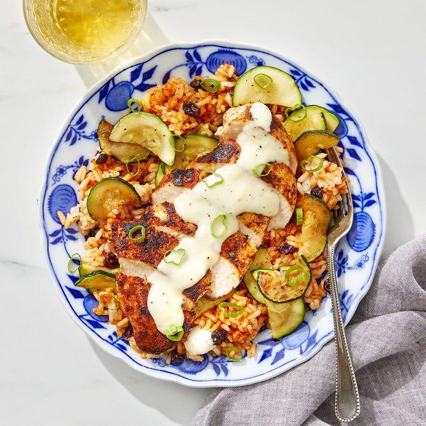 Spanish Chicken & Romesco Rice with Zucchini & Garlic Mayo