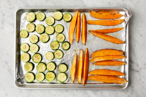 Roast the vegetables & dress the zucchini: