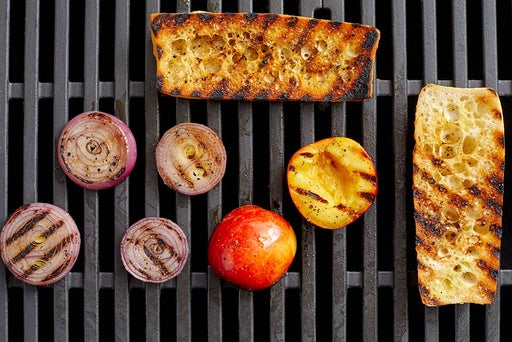 Grill the onion, nectarine & bread
