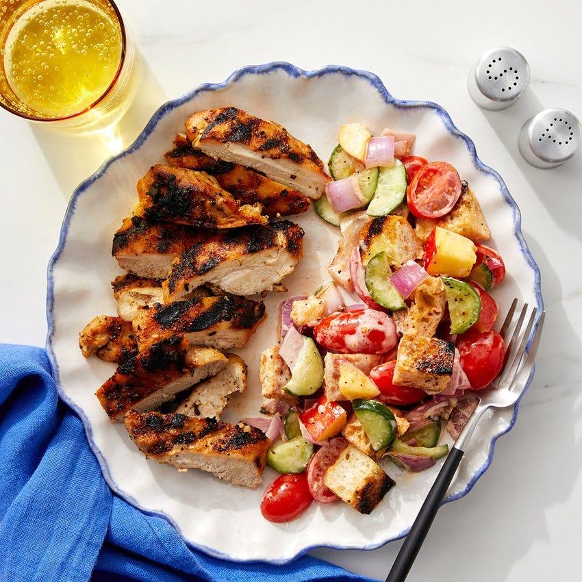 Grilled Chicken Thighs & Nectarine Panzanella with Spicy Ranch Dressing