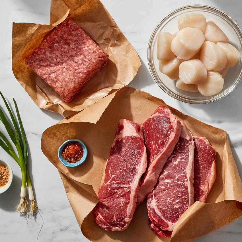 Specialty Selection NY Strip Steaks, Scallops & Ground Beef