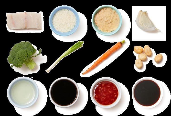 Miso-Glazed Barramundi with Roasted Vegetables & Garlic Rice