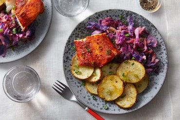 Baked Cajun Cod with Braised Cabbage & Lemon-Garlic Potatoes