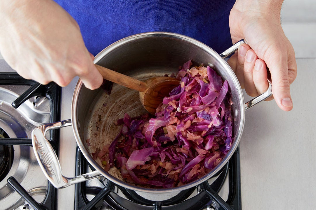 Braise the cabbage:
