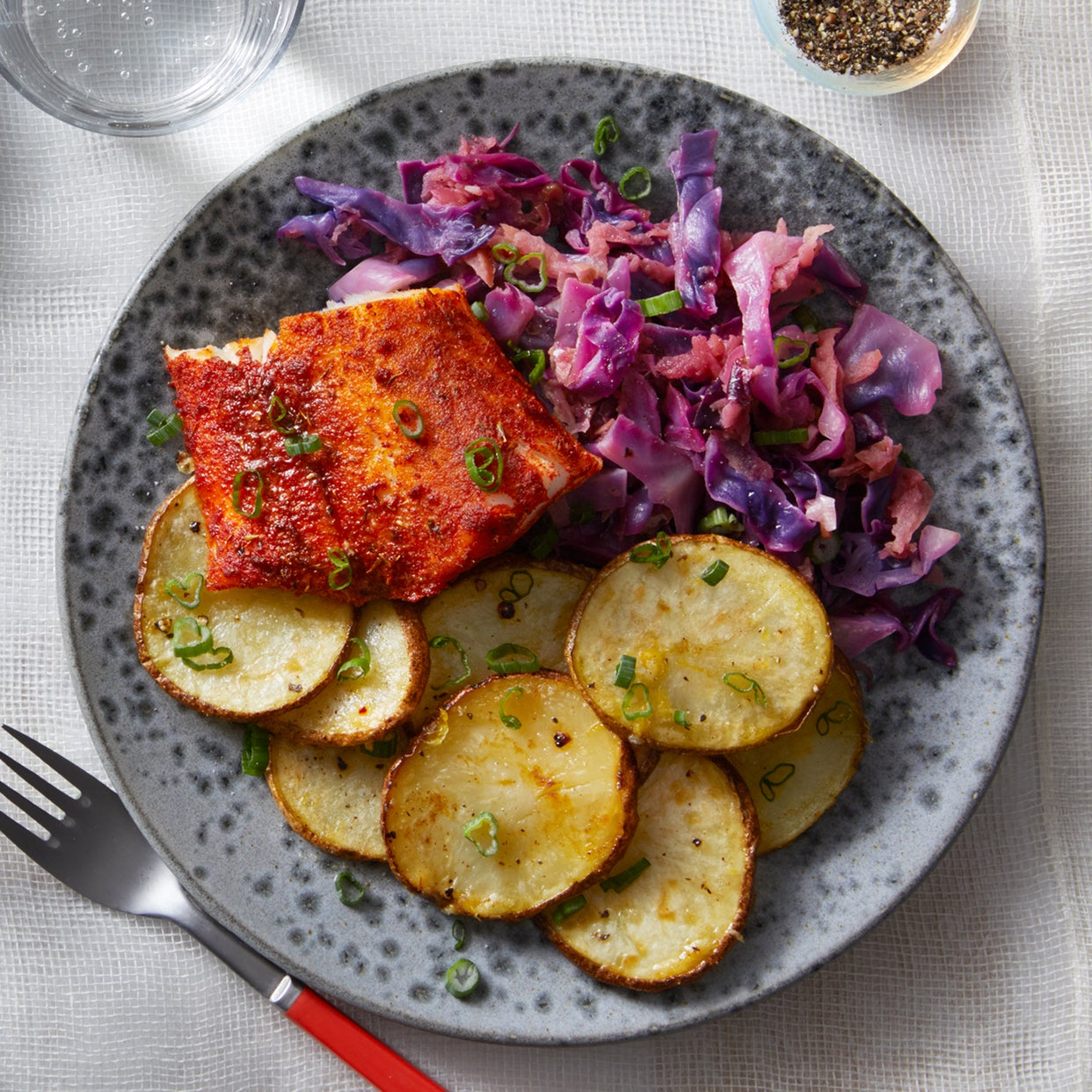 Baked Cajun Cod with Braised Cabbage & Lemon-Garlic Potatoes