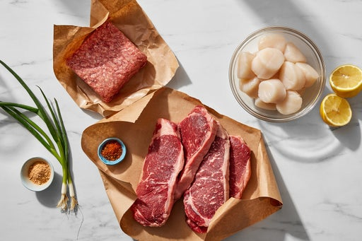 Specialty Selection NY Strip Steaks, Scallops & Prime Ground Beef