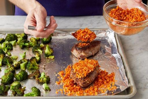 Sear the steaks: