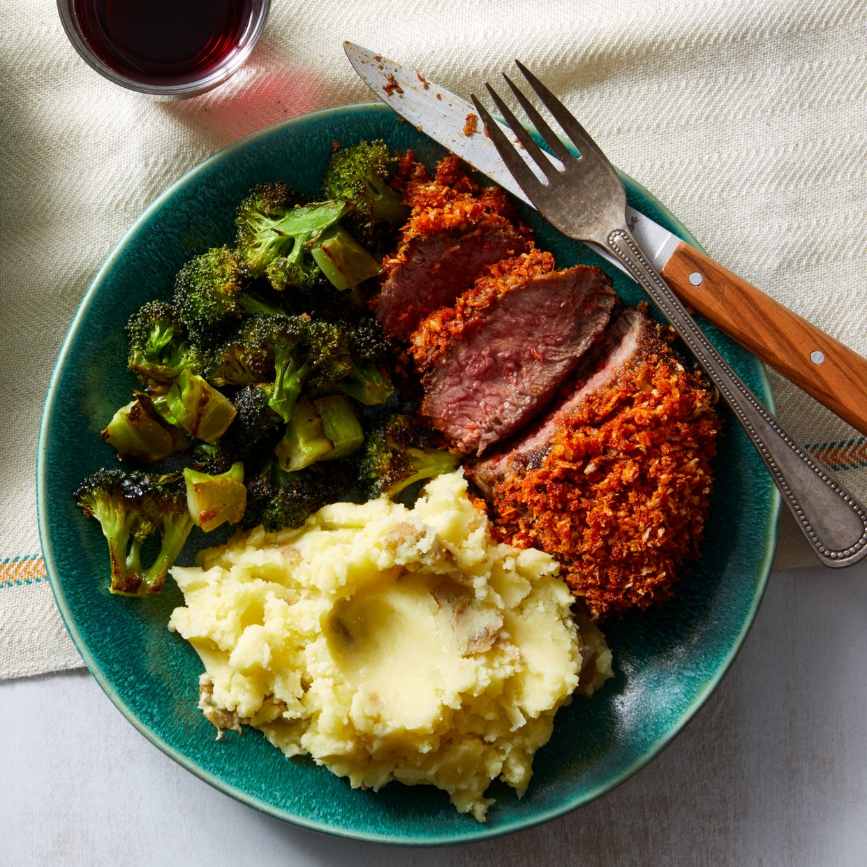 Parmesan-Crusted Steaks with Mashed Potatoes & Broccoli