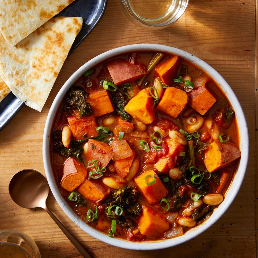 Spicy Sweet Potato Chili with White Beans & Cheddar Quesadillas