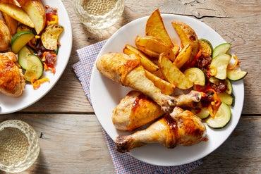 Harissa-Glazed Chicken Drumsticks with Potato Wedges & Zucchini