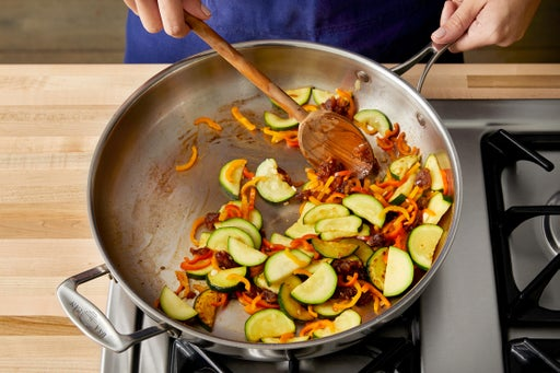 Cook the peppers & zucchini: