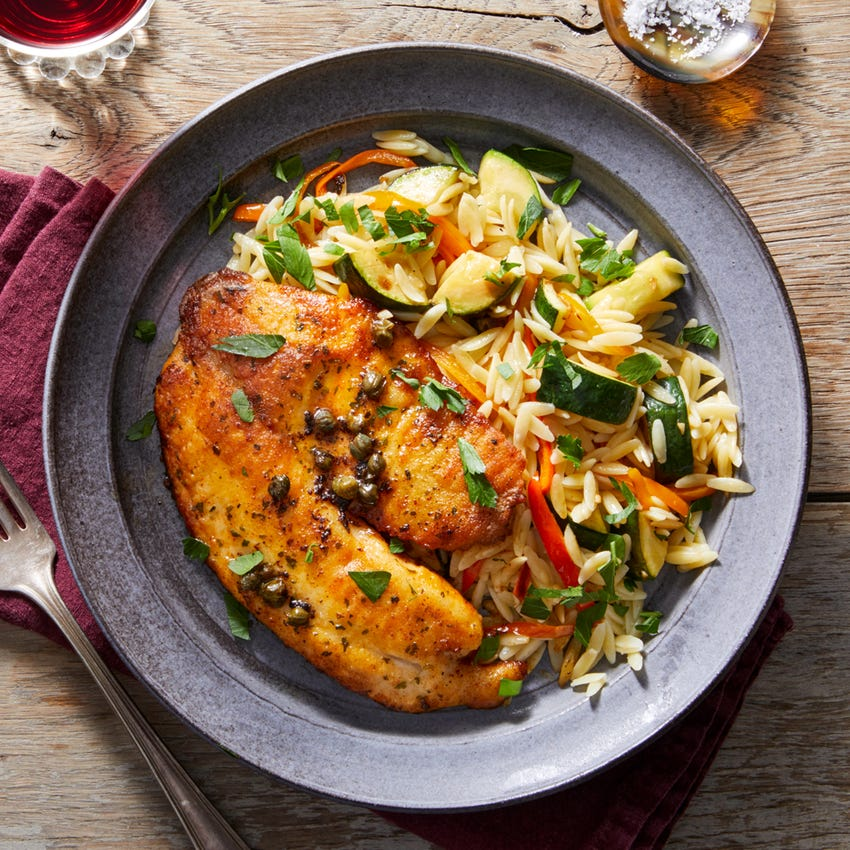 Tilapia Piccata with Orzo, Zucchini & Sweet Peppers