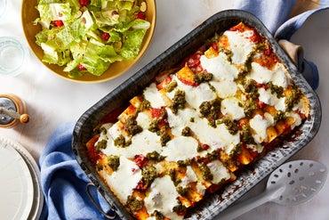 Broccoli & Ricotta Cannelloni with Pesto & Fresh Mozzarella