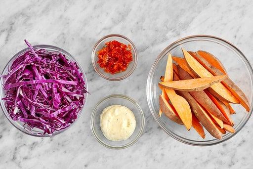 Prepare the ingredients & make the garlic mayo