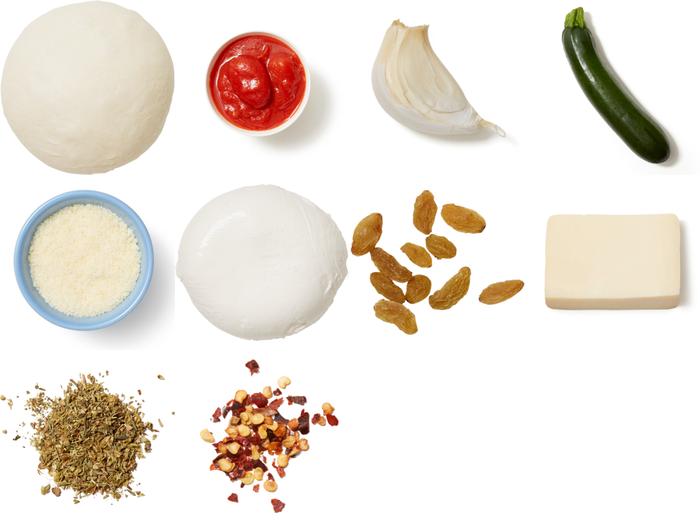 Three-Cheese Calzones with Zucchini & Golden Raisins